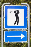 Golf course road sign. Golf course metal road sign (showing direction Stock Image