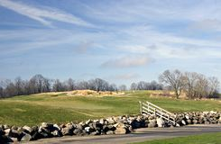Golf Course Rock Retaining Wall Royalty Free Stock Image
