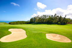 Golf Course. With sand bunkers in Mauritius Island royalty free stock photo