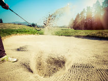 The golf course is on the sand. Sand making splashes Stock Images