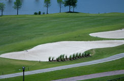 Golf Course Sand and Water Traps. Are a common sight in Florida in the United States stock photography