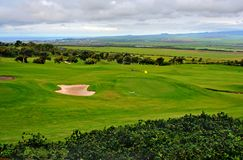 Golf course with sandtrap. Green golf course with sandtrap and different fairway levels, in South Maui, Hawaii Royalty Free Stock Photography