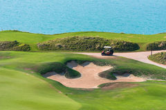 Golf course on a sea coast Royalty Free Stock Photography