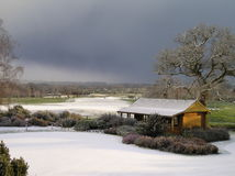 Golf Course In The Snow. Picture of snow covered UK golf course in winter stock image