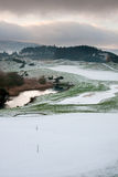Golf course on a snowy winter morning Royalty Free Stock Photo