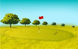 Golf course, sport game play trees sky vector illustration