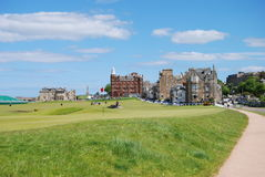 Golf Course At St. Andrews. The Old course at St. Andrews as it prepares for a major championship royalty free stock photo
