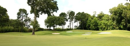 Golf Course. In summer with sand traps and trees Royalty Free Stock Photography