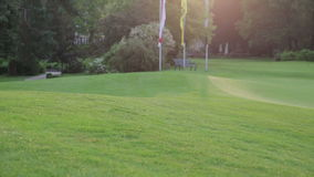 Golf course with sunlight stock footage