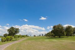Golf Course in Sunny Day Afternoon Stock Photos