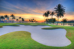 Golf course sunrise. Sunrise overlooking the sea with golf course in the foreground with coconut trees surrounding it Stock Photography