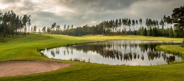 Golf Course. During sunset in Finland Stock Image