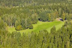 Golf course surrounded by forest. View from the air Royalty Free Stock Images