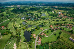 Golf course in Thailand from the air. Golf course in Thailand, aerial photography Stock Image