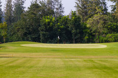 Golf course in thailand. Green field in golf course Royalty Free Stock Images