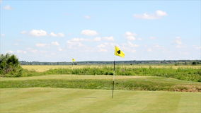 Golf course. With two yellow flags stock video
