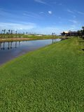 Golf Course under construction. New Golf course with a lake view that is under construction stock photography
