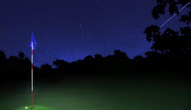Golf Course Under The Stars Stock Images