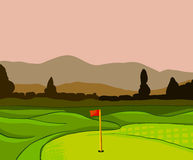 Golf course vector background. Golf course vector illustration with flag trees and plants Stock Photography