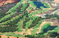Golf course. View from the plane Royalty Free Stock Photos