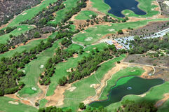 Golf course. View from the plane Royalty Free Stock Photo