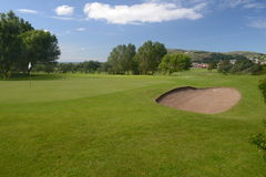 Golf course. View of golf course putting green and bunker Stock Images