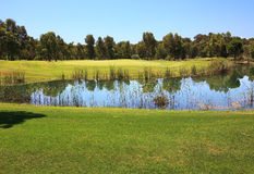 Golf course with water hazard. Royalty Free Stock Photos