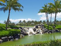 Golf Course Waterfall. Waterfall along golf course in Hawaii Stock Image