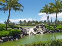 Golf Course Waterfall. Waterfall along golf course in Hawaii stock image