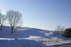 Golf course on winter. Golf course covered with snow on winter season Stock Images