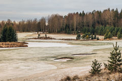 Golf course in winter land. Golf course in winter, closed and abandoned until next season. Ice and snow on the fairway. Located in Surahammar, Sweden Stock Image