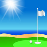 Golf course. Witth ball on the green with sunshine Stock Photography