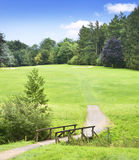 Golf course with wooden bridge Stock Image