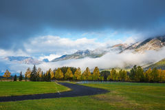 Golf courses in Banff. Gorgeous autumn in the Rocky Mountains Royalty Free Stock Images