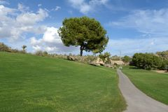 Golf courses in Orihuela Costa. ORIHUELA COSTA, SPAIN - OCTOBER 12, 2014: Golf courses in Orihuela Costa. Orihuela Costa is recognized as the most ecological Royalty Free Stock Photos
