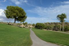 Golf courses in Orihuela Costa. ORIHUELA COSTA, SPAIN - OCTOBER 12, 2014: Golf courses in Orihuela Costa. Orihuela Costa is recognized as the most ecological Royalty Free Stock Photo