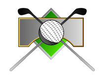 Golf crest with club and ball Royalty Free Stock Photo
