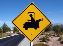 Golf Crossing. Golf cart crossing sign in a affluent desert community Royalty Free Stock Photos