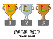 Golf Cup Finalists Awards in Gold, Silver and Bronze Stock Image