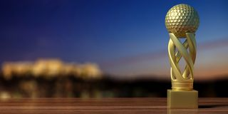 Golf golden trophy on a wooden table, blur background. 3d illustration. Golf cup. Golf golden trophy on a wooden table, blur background, copy space. 3d Royalty Free Stock Photography