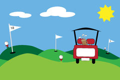 Golf. Cute cartoon golf course scene stock illustration