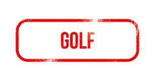 Golf - czerwona grunge guma, znaczek ilustracji