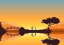 Golf dans le coucher du soleil illustration libre de droits