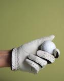 Golf del guante y de la bola Fotos de archivo libres de regalías