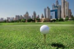 Golf del juego de los profesionales La pelota de golf está en la camiseta para una pelota de golf Fotografía de archivo