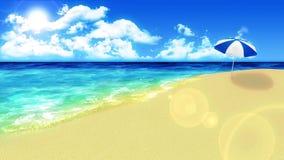 Golf die op de kust omwikkelen De vakantieconcept van de luxezomer Eiland met blauw zeewater Lijnanimatie vector illustratie