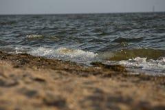 Golf die op de zandige kust van de Zwarte Zee, de Oekraïne rollen Royalty-vrije Stock Afbeelding