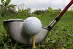 Golf driver and ball Stock Photo