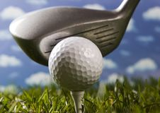 Golf, driver and ball Stock Photos