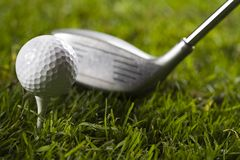 Golf, driver and ball Stock Photo